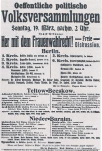 Veranstaltungshinweis zur Forderung nach dem Frauenwahlrecht (ca. 1908)