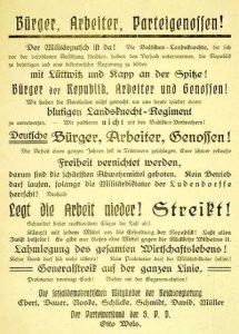 Flugblatt mit Aufruf der SPD zum Generalstreik