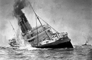 Die Versenkung der Lusitania in einer deutschen Darstellung.