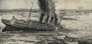"""Zeichnung der britischen Illustrierten """"The Sphere"""" vom Untergang der Lusitania"""