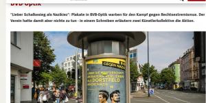 Vermeintliches BVB-Plakat in Dortmund (am 11. Mai). Spiegel-Artikel