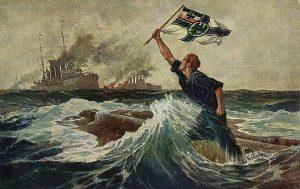 """Eines der bekanntesten deutschen Propagandabilder """"Der letzte Mann"""" von Hans Bohrdt. Der Verbleib des Bildes ist bis heute unklar"""