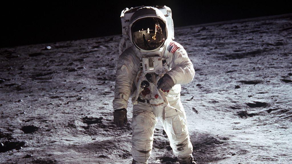 "Edwin ""Buzz"" Aldrin auf dem Mond am 20. Juli 1969. Foto: public domain"