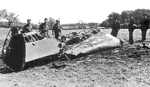 The wreckage of Rudolf Hess' Messerschmitt Bf 110D