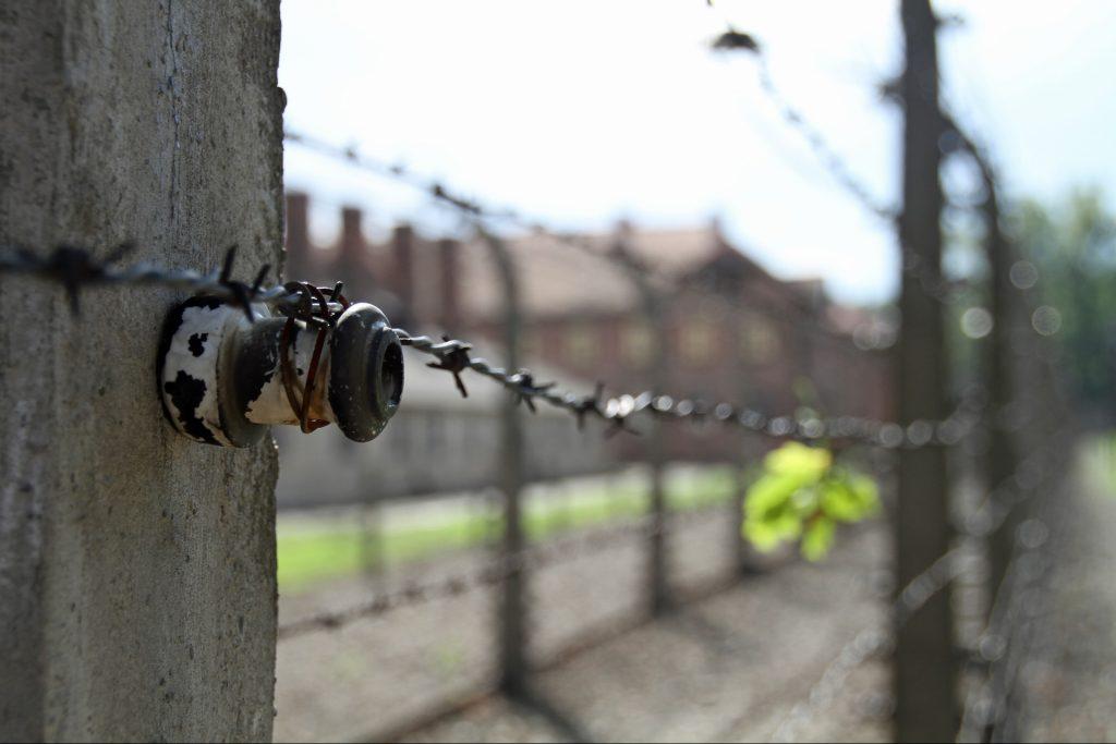 Stacheldraht vor den Baracken des KZ Auschwitz. Foto: MonicaVolpin / Pixabay
