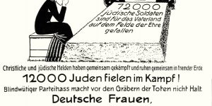 1920 vom Reichsbund jüdischer Frontsoldaten als Antwort auf die Anschuldigungen fehlenden Patriotismus herausgegebener Handzettel.